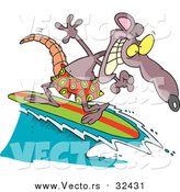 Vector of a Surfing Rat with a Grin - Cartoon Character Style by Toonaday
