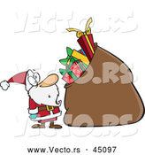Vector of a Surprised Cartoon Santa Staring at His Oversized Bag of Presents by Toonaday