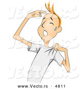 Vector of a Sweating Cartoon Man Touching His Forehead While Airing out His Shirt on a Hot Summer Day by BNP Design Studio