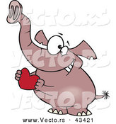 Vector of a Sweet Cartoon Elephant Holding a Red Valentine Love Heart by Toonaday