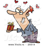 Vector of a Sweet Cartoon Man Holding out a Small Wrapped Gift with Love Hearts by Toonaday