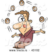 Vector of a Talented Cartoon Man Juggling 5 Donuts While Smiling and Licking His Lips by Toonaday