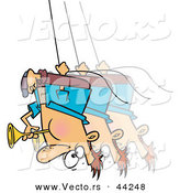 Vector of a Talented Cartoon Man Swinging Upside down and Blowing a Horn by Toonaday