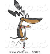 Vector of a Talented Cartoon Wiener Dog Jumping with a Pogo Stick by Toonaday