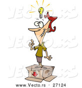 Vector of a Thinking Businesswoman Standing on a Box with a Light Bulb Floating Above Her Head - Cartoon Style by Ron Leishman