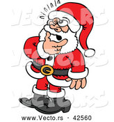 Vector of a Thinking Cartoon Santa Rubbing His Beard by Zooco
