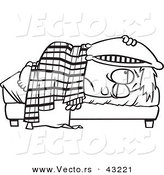 Vector of a Tired Cartoon Boy Lying in Bed with a Pillow over His Head - Coloring Page Outline by Ron Leishman