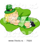Vector of a Tired Cartoon Leprechaun Toddler Sleeping on a Large Shamrock by BNP Design Studio