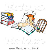 Vector of a Tired Cartoon Student Sleeping over School Book by Toonaday