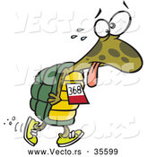 Vector of a Tired Cartoon Turtle Walking in a Race by Ron Leishman