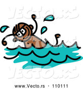 Vector of a Toddler Black Boy Swimming by Prawny