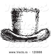 Vector of a Top Hat in Black and White Retro Vintage Style by Picsburg