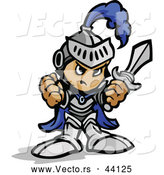 Vector of a Tough Cartoon Boy Wearing Knight Gear While Holding up His Fist and a Sword by Chromaco