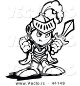 Vector of a Tough Cartoon Knight Holding up a Fist and a Sword - Coloring Page Outline by Chromaco