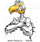 Vector of a Tough Cartoon Pelican Mascot Posing with Crossed and a Grinning Facial Expression by Chromaco