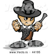Vector of a Tough Cartoon Pilgrim Armed with a Rifle While Balling His Fist by Chromaco