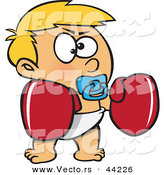 Vector of a Tough Cartoon Toddler Boy Wearing Boxing Gloves While Sucking on a Pacifier by Toonaday
