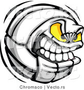 Vector of a Tough Volleyball Cartoon Character Gritting Teeth by Chromaco