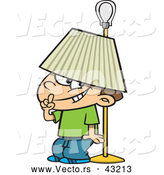 Vector of a Trouble Making Cartoon Boy Hiding Under a Lamp Shade by Toonaday