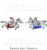 Vector of a Two Knights Jousting Each Other with Lances by Djart