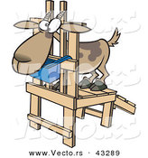 Vector of a Uncomfortable Cartoon Goat Standing on a Wooden Milking Device by Ron Leishman