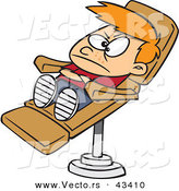 Vector of a Unhappy Cartoon Boy Laying in a Dentist Chair by Ron Leishman