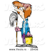 Vector of a Unhappy Cartoon Female Janitor Standing with Mop and Bucket by Ron Leishman