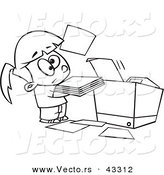 Vector of a Unhappy Cartoon Girl Trying to Use a Copier Machine - Coloring Page Outline by Toonaday