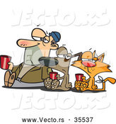 Vector of a Unhappy Cartoon Homeless Man, Dog, and Cat Begging for Money and Food by Toonaday