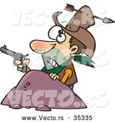Vector of a Untrained Cartoon Cowboy Holding a Pistol While Getting Shot with in Arrow Through His Hat and Head by Ron Leishman