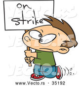 Vector of a Upset Cartoon Boy Walking Around with an 'On Strike' Sign by Toonaday