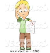 Vector of a Upset Cartoon School Boy Holding a Failed Test Paper with an 'F' Grade by BNP Design Studio