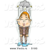 Vector of a Upset Young Cartoon Man Standing Under a Stormy Rain Cloud by BNP Design Studio