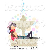 Vector of a Valentine Couple Relaxing on a Fountain by BNP Design Studio