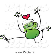 Vector of a Valentine Frog in Love, Jumping by Zooco
