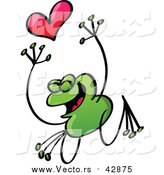 Vector of a Valentine Frog in Love, Jumping with a Heart by Zooco