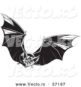 Vector of a Vampire Flapping Its Wings in the Sky - Black and White Halloween Line Art by Lawrence Christmas Illustration