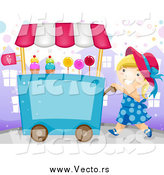 Vector of a Vendor Girl Pushing a Candy Cart by BNP Design Studio