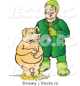 Vector of a Veterinarian Helping Sick Pick Standing in Barf by Snowy