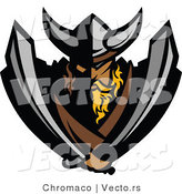 Vector of a Viking Warrior Mascot Armed with Two Swords by Chromaco