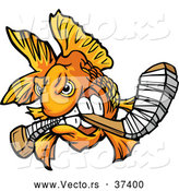 Vector of a Viscous Cartoon Goldfish Biting a Hockey Stick While Looking Fierce by Chromaco