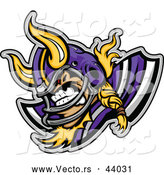 Vector of a Viscous Cartoon Viking Football Player Mascot Ready to Charge by Chromaco