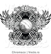 Vector of a Volleyball over Ornate Winged Design by Chromaco