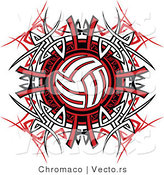 Vector of a Volleyball over Tribal Design by Chromaco