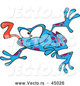 Vector of a Wacky Blue Cartoon Frog Jumping Forward with Tongue out by Toonaday