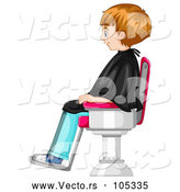 Vector of a Waiting Boy Seated in a Barber Shop Chair by Graphics RF