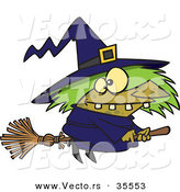 Vector of a Warted Cartoon Witch Riding Her Broomstick on Halloween by Toonaday