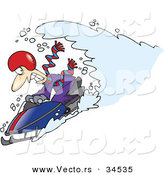 Vector of a Wave of Snow Crashing over a Cartoon Man Driving a Snowmobile by Toonaday