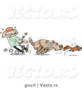 Vector of a Weak Man Struggling to Stop His Aggressive Dog from Catching a Squirrel During a Chase by Gnurf
