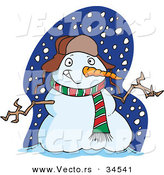 Vector of a Welcoming Cartoon Snowman by Toonaday